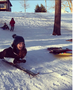 Sledding actually takes SO much core, especially when your sled is attached to a single ski!